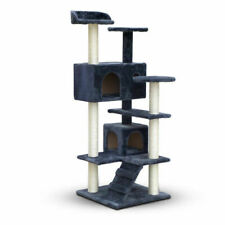 Cat Scratching Tree Post Pole Gym House Condo Toy Scratcher Furniture 134cm Grey
