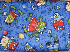 $6 Per Yard LIL MONSTER FRIENDS Quilt Fabric Kids on Blue Diane Knott Clothworks