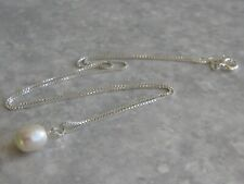 Genuine White Freshwater Pearl Pendant On 925 Sterling Silver Chain    (sq8)