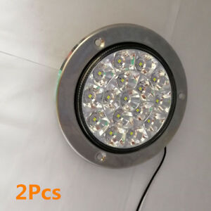 2X White 16-LED Round Clear Lens Truck Trailer Tail Lights Back-up Reverse Lamps