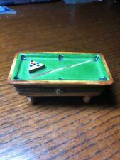 Rare Model Limoges Box Billiard Pool Table Peint Main Chamart Exclusif Destieux