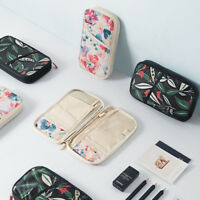 Floral Pattern Travel Passport Wallet Multifunctional Credit Card ID Holder Case