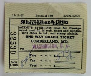 Baltimore And Ohio Vtg 1910 Passenger Train Ticket Washington DC - Cumberland MD