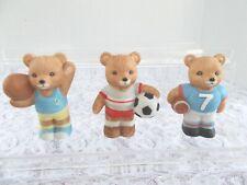 Vintage Set of 3, Homco Teddy Bear Sports Figurines # 1408