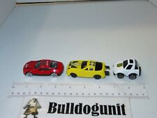 Lot of 3 Generic Car Diecast Toy Red Yellow White