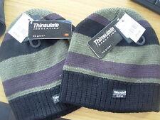 Caballeros Chicos Thinsulate 40GRM Tire de sombrero de un tamaño Negro Gris De Rayas BNWT £ 15