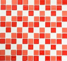 Mosaico piastrella vetro bianco/arancione muro cucina bagno: 62-0904_b |1 foglio