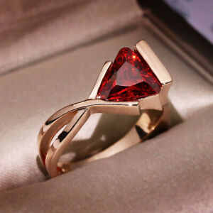 Luxury Rose Gold Plated Creative Triangle Cut Red Garnet Rings Geometric Rings