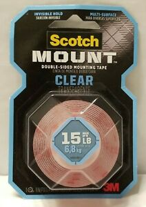 3M Scotch 1 in. x 1.66 yds. Permanent Double Sided Clear Mounting Tape