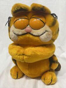"Vintage Garfield Plush Toy 1981 Dakin 12"" Closed Eyes Rare Stuffed"