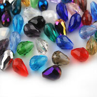 Wholesale 50Pc Mixed Glass Crystal Charms Teardrop Loose Bead Making Craft 8x6MM