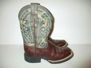 Ariat Camo Square Toe Cowboy Boots Boy's Youth Size 10