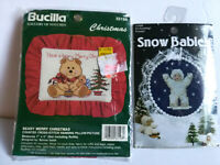 2 Christmas Cross Stitch Kits Snowbabies & Beary Merry Hanging Pillow NEW
