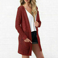 Womens Cardigan Open Front Sweater Long Sleeve Loose Jacket Hollow Red Coat Tops