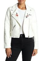 New BLANKNYC Faux Leather Jacket Womens Size Large White Floral Studded Moto