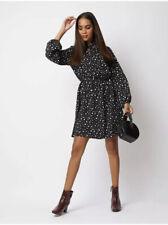 George Bnwt Black & White Spot Polka Dot Print Tie Neck Dress Size 12/14
