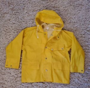 Helly Hansen Vintage Womens Yellow PVC Hooded Rain Weather Jacket Norway Small