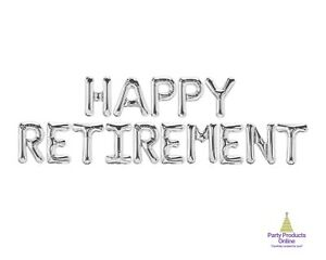 HAPPY RETIREMENT Letter Balloon Banner - Gold, Rose Gold and Silver