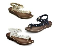 Womens Ladies Toe Post Flat Diamante Flower Slip On Slingback Summer Sandals