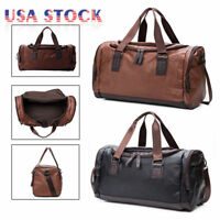 Large Leather Men Handbag Duffel Bag Gym Travel Shoulder Bag Overnight Luggage