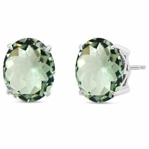 Oval Shape Stud Earring Natural Green Amethyst 925 Silver for Women Jewelry
