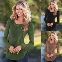 Fashion Women Loose Long Sleeve Tops Blouse Shirt Casual Hollow Crochet T-Shirt