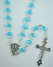 Catholic ROSARY - Blue round Cat eye Plastic beads with Mother Mary & Cross- NEW