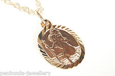 9ct Gold Oval St Christopher Pendant and Chain Gift boxed Necklace Made in UK