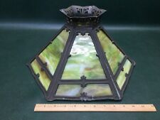 Antique Art Nouveau Green Slag Glass Table Lamp Shade