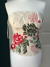 coast uk 8 white 100%linen floral embroidered bustier/top