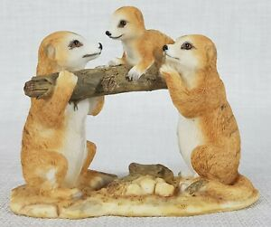 Meerkat Family with Baby on Log Ornament Figurine Statue Sculpture Décor Small