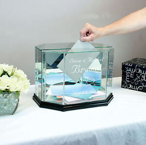 Personalized Glass Wedding Card Box Money Card Box - Free Engraving