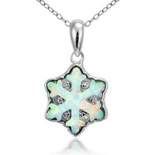 Sterling Silver Created White Opal Snowflake Necklace