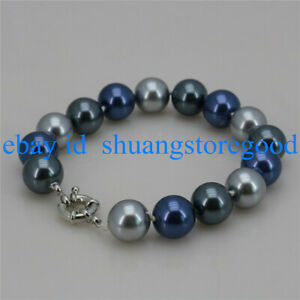 Natural 8/10/12mm Multicolor South Sea Shell Pearl Bracelet 7.5'' AAA+
