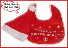 """BABY BIB and CHRISTMAS HAT SET """"I Believe in Santa Claus"""" Ideal Newborn Gift NEW"""