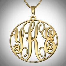 Unique Customized 14K Solid Yellow Gold Monogram Necklace Personalized