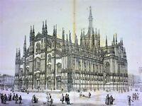 GRANDES VUES DU DUOMO DE MILAN. GRAVURE SUR PAPIER. ITALIE CIRCA 1850