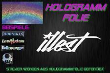 Illest ologramma HOLO JDM Sticker Adesivo 35x10cm Cromo Argento Rainbow