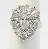 14K White Gold Over Pear Shaped D/VVS1 Diamond Vintage Ballerina Ring 3.45 CT