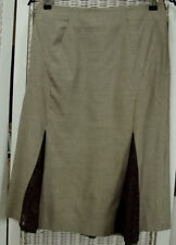 "KAREN MILLEN Wool Skirt 28""W UK8 Brown Ivory Houndstooth Check Lace Godets 25""L"