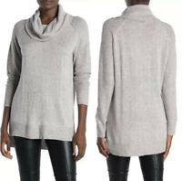 NEW Magaschoni Cowl Neck Tunic Sweater Heather Gray Cashmere Blend Rib Knit XS