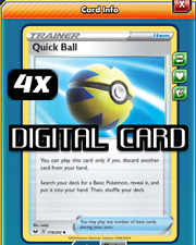 4x Quick Ball Pokemon TCG Online PTCGO SENT FAST Trainer 179/202 DIGITAL CARD
