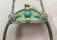Antique Vintage Jeweled Brass & Celluloid Purse Frame With Parrots Peking Glass