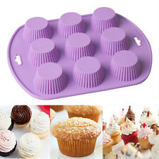 9 Cavity Silicone Muffin CupCake Cookie Chocolate Mould Mold Pan Baking Tray