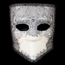 Bauta Lace Mardi Gras Venetian Masquerade Mask for Men M2612 [Silver/White]