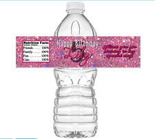 """Set of 25 Birthday Personalized Waterproof Party Favor Water Bottle Labels 8""""x2"""""""