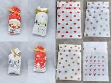 10/50Festival Treat Bags Party Cookies Candy Drawsting Gift  Plastic Package