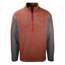Eddie Bauer Men's Heather Cocoa w/ Grey Sleeve Mountain Fleece 1/2-Zip Sweater