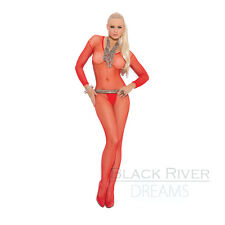 Sexy Fishnet Body Stocking Long Sleeve Bodystocking Open Crotch Red Queen Size