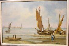 Petit panneau Breton ou Hollandais tableau wall painting Peinture Marine